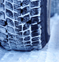 close-up photo of a snow tyre